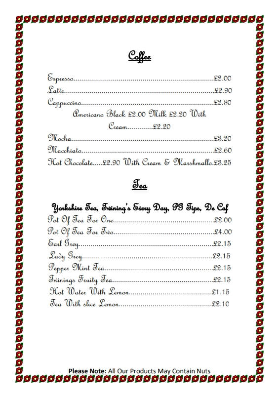 Deer Park Farm Tea Rooms - Main Menu Oct 2018 - 1